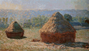 Haystacks at the End of the Summer, Morning Effect (Claude Monet) Cross Stitch Design